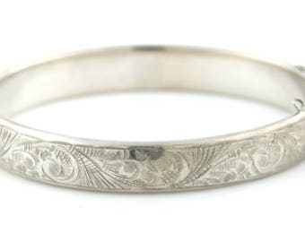 Vintage 1950's Sterling Silver Bangle with Foliate Engraving