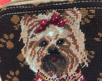 Vintage Dog Tapestry Pouch, Vintage Dog Paw Print Wristlet/Coin Purse