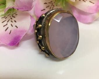 Vintage Turkish Silver Ring, Chunky Sterling Silver Pink Stone Ring-Size 7.5
