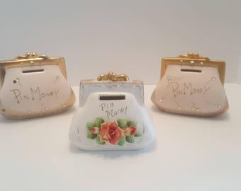 1950s Vintage Pin Money Purse Ceramic Banks Set of 3