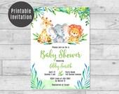 Safari-Baby-Dusche-Einladung-Giraffe, Elefant, Löwe Dschungel Tiere Geschlecht Neutral jungen & Mädchen-Baby-Dusche druckbare laden 4 x 6 5 x 7 - ID01