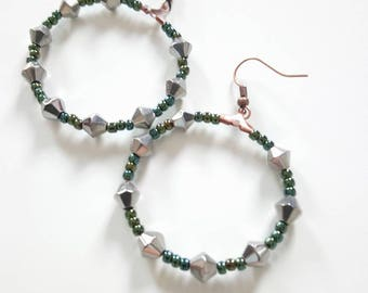 Hoop earrings with beads, ethnic earrings, women Valentine's day gift, gift for friend or co-worker, costume jewelry