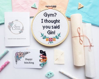 Cross Stitch Kit - Modern Cross Stitch - Funny Cross Stitch - Embroidery Kit - Gin Gifts - Gin Lover - Cross Stitch Beginners - Stitch Kit