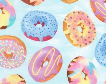 Blue Doughnuts Cotton fabric