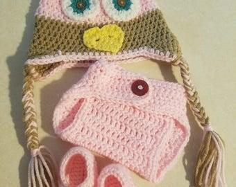 Owl baby diaper set