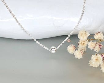 Silver Necklace, Silver Bead Necklace, Ball necklace, Silver Chain Necklace, 925 Silver Necklace, Silver Charm Necklace , (NS24)