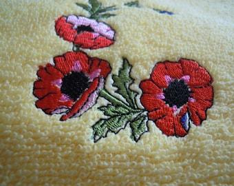 bath towel embroidered towel, yellow