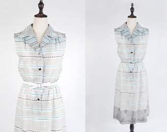 Blue Black Leaf Print and Strip Notched Collar Sleeveless White Vintage Women Dress Size M