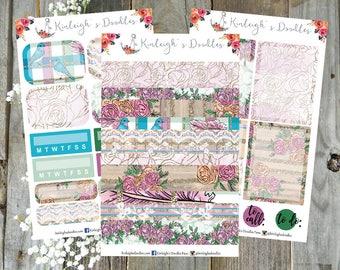 Turquoise Blooms // Personal Size Sticker Kit Erin Condren Vertical