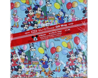 Vintage Disney Wrapping Paper Sheet, Vintage Gift Wrap, Mickey Mouse, Donald Duck, Huey, Dewey, Louie, Minnie, Daisy, Goofy, Morty, Ferdie