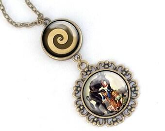 Krampus necklace- Two level Krampus pendant Krampus with Barrel