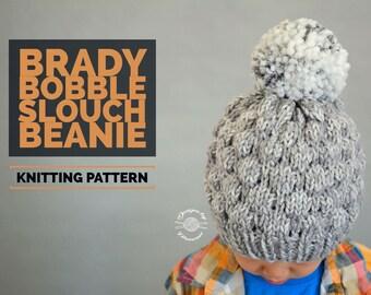Knit Brady Bobble Slouch Beanie PATTERN | Knitting Pattern | Beanie Pattern | Hat Pattern | Instant Download