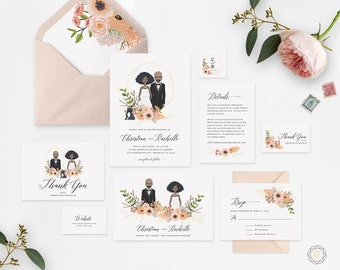 Illustrated Wedding Invitation, Custom Wedding Invitation, Custom Illustration, Printable Wedding Invitation, Wedding Invitation Set, #IPP