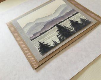 Handmade Greeting Card- Mountain Scene