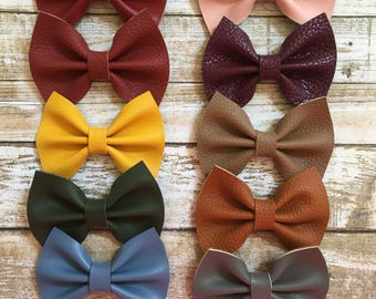 Fall Faux Leather Bow, Mustard Hair Bow, Mustard Headband, Brown Hair Bow, Burgundy Hair Bow, Burgundy Headband, Leather Hair Bow, Piggy Bow