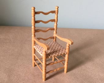 Miniature Doll House Chair with Cane Seat