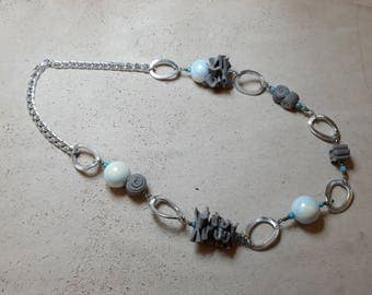 Elegant grey leather necklace and handmade white pearls