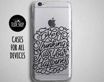 Happiness Clear iPhone 7 Case Transparent iPhone 7 Plus Case iPhone 6 Case Motivation Inspirational Quote Typography Art iPhone 6S Plus Case