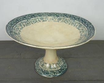 "Antique French Blue Transferware Cake Plate Cake Stand Fruit Dish , Ironstone,""Boulenger"", Terre de Fer, 19th century"