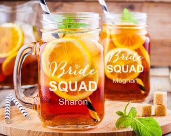 Bride Squad Personalized Engraved Mason Jars - Bridesmaid Mason Mugs - Bridesmaid Gifts  - Bridal Party Gifts - DG24-A21-MASON