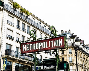Pigalle Photography - Paris Photography - Wall Art Print - Paris Decor - Architecture - Fine Art Photography  - Metropolitain - 0096
