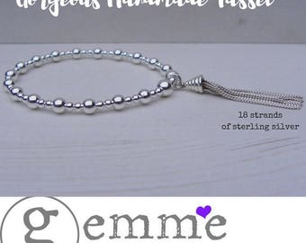 Sterling Silver Stretch Bracelet,Silver Beaded Bracelet,Stretch Stacking Bracelet,Silver Tassel Bracelet, Bridesmaid Bracelet,BridesBracelet