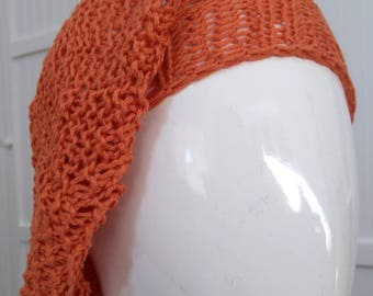 Small Girls Hand Knitted Beret - Copper Orange