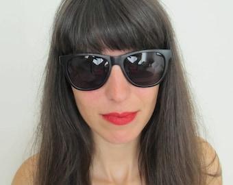 Vintage 70s Unique Mat Black Sunglasses
