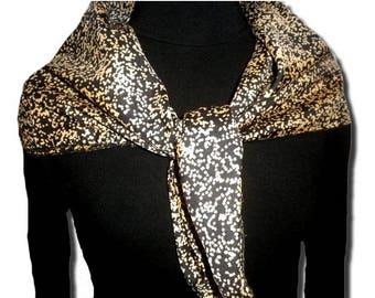 Reversible silk scarf gold speckled black background - gift idea