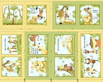 """Susybee Buddies Storybook Panel Quilt Panel 36"""" from Susybee SB20056-830  juvenile susy bee cotton woven fabric children kids orange green"""