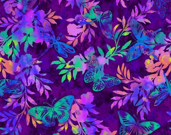 Aflutter and Fern in Purple by Elizabeth Isles Studio E quilting cotton fabric by the yard metre purple pink floral