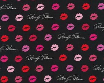 Valentine Marilyn Monroe from Robert Kaufman signature lipstick lips black quilting cotton fabric material by the yard or metre AYO17529343