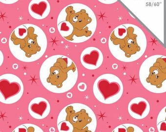 Pink Care Bears Tenderheart Bear Knit from Camelot Fabrics cotton spandex lycra licensed, jersey 4way stretch 44010109K-1