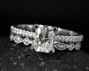 ON SALE Radiant Cut Moissanite Ring - Forever Brilliant Moissanite - Milgrain Wedding Band