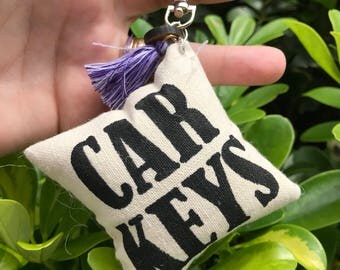 Handmade Keychains, Canvas Keychains, pillow keychains, backpack accessories, diaperback accessories