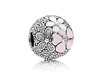 Authentic PANDORA Poetic Blooms Clip, Mixed Enamels & Clear CZ