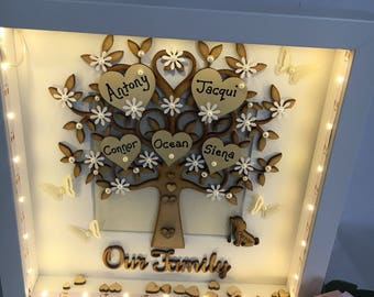 Beautiful Handmade Family Tree With Lights