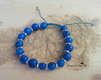 """Love Daddy"" Beads Bracelet Cobalt Blue"