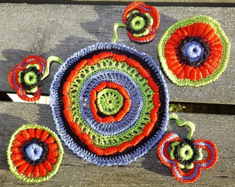 Crochet applique irish crochet application Decor dress flower applique ukrainian style red crochet flower ukraine ornament Flower set 6 pcs