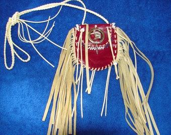 Fringed Leather Medicine Bag Native Regalia Beaded Leather Necklace Pouch Eagle pendant