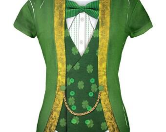 St. Patricks Day Leprechaun Costume All Over Juniors T-Shirt