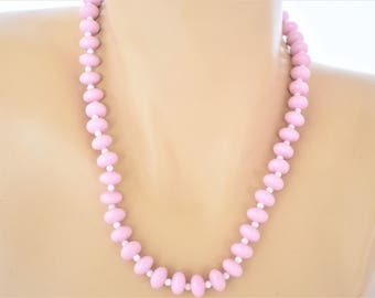 "Vintage Light Bubblegum Pink Beaded Strand String Rope Necklace Boho Chic Delicate 18"""