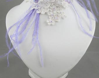 Ivory lace and purple bridal necklace.