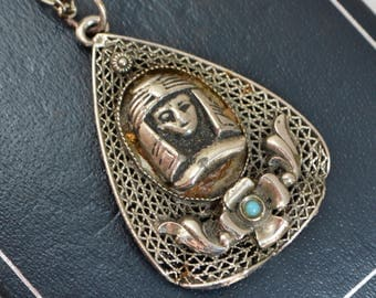 Antique / Vintage EGYPTIAN PHARAOH Filigree Pendant with Turquoise Glass Flower