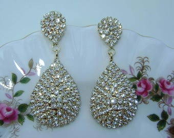 Beautiful Gold Pave Setting Crystal Earrings.