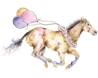 Horse birthday card etsy horse birthday card watercolour horse horse art card for horse lovers horse negle Image collections