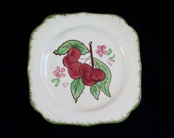 "RARE Blue Ridge County Fair CHERRIES 7.25"" Square Plate Vintage Southern Potteries COLONIAL Dinnerware Cherry Blossom B20 (6005)"