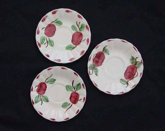 "THREE Blue Ridge BEADED APPLE Saucers 6"" (Lot of 3) Hand Painted Red Fruit Southern Potteries Dinnerware Bargain Beauty (B32) 1000"
