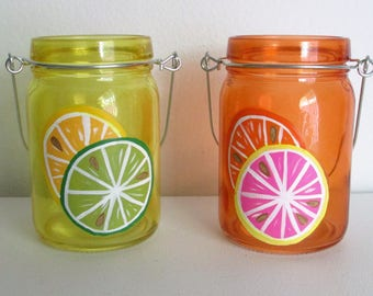 Hand-Painted Hanging Candle Votive Jars featuring Citrus Fruit, set of 2