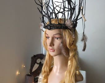 Oberon crown Forest crown Forest witch Pagan crown Festival headpiece Branches headress